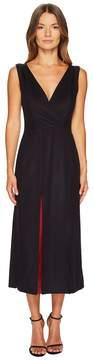 Jil Sander Navy Wool Sleeveless V-Neck Dress