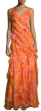 Carmen Marc Valvo Sleeveless Floral Silk Ruffle Gown, Coral