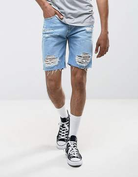 Pull&Bear Distressed Denim Shorts In Light Wash