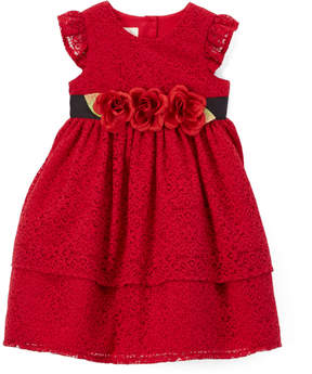 Laura Ashley Red Flutter-Sleeve Rose-Accent Dress & Bloomers - Newborn
