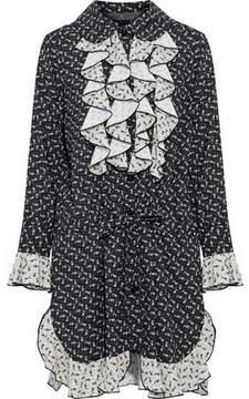 Anna Sui Ruffled Floral-Print Silk-Georgette Mini Shirtdress