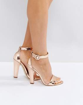 London Rebel Metallic Heeled Sandals with Ankle Strap