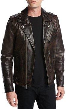 Joe's Jeans Ty Leather Motorcycle Jacket, Coffee (Brown)