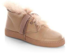 Pedro Garcia Parley Shearling & Leather High-Top Sneakers