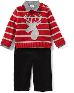 Starting Out Baby Boys 12-24 Months Deer Striped Sweater, Button-Down Shirt, & Pants 3-Piece Set