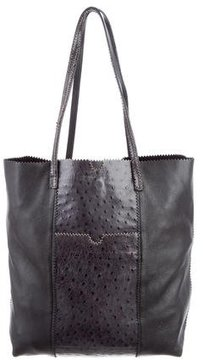 Carlos Falchi Ostrich-Paneled Tote Bag
