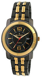 Peugeot Men's Goldtone and Black Bracelet Watch