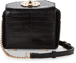 Urban Expressions Black Marguerite Snakeskin-Embossed Crossbody