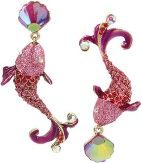 Betsey Johnson CRABBY COUTURE PINK FISH EARRINGS
