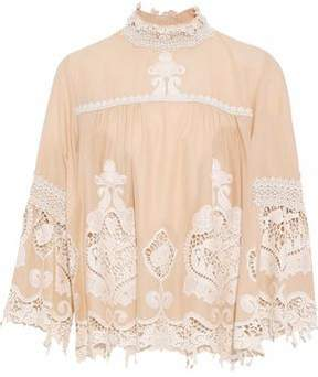 Anna Sui Crochet-Paneled Embroidered Cotton Blouse