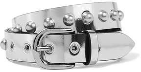 Isabel Marant Zoa Studded Metallic Leather Belt - Silver