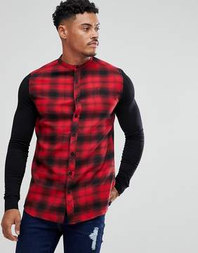 SikSilk Muscle Shirt In Red Check With Jersey Sleeves