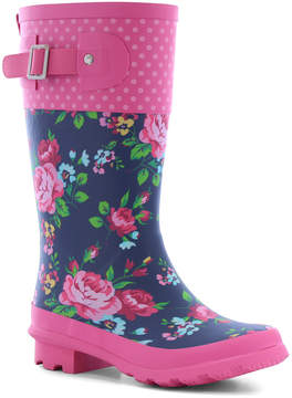Western Chief Navy & Rose Floral Rain Boot - Girls