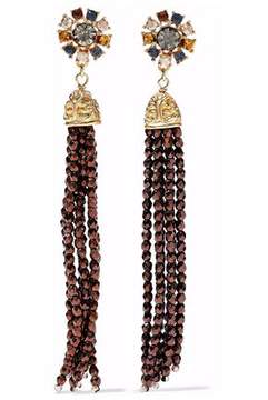 Ben-Amun Tasseled Gold-Tone Crystal And Bead Earrings