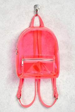 FOREVER 21 Faux Leather Trim Clear Backpack