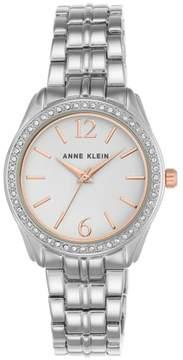 Anne Klein Crystal 2-Tone Round White Dial Pavé Bezel Bracelet Watch