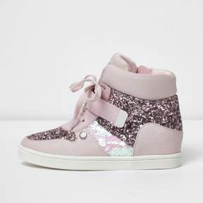 River Island Girls pink glitter hi top lace-up sneakers