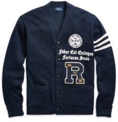 Ralph Lauren The Iconic Collegiate Cardigan Navy W/ Grey Stripe Xs