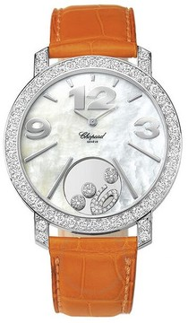 Chopard Happy Diamonds Mother of Pearl Dial 18kt White Gold Diamond Leather Ladies Watch