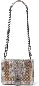 Bottega Veneta - Mini Studded Intrecciato Watersnake Shoulder Bag - Gray
