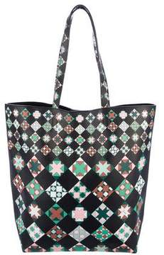 Emilio Pucci Printed Textured Leather Tote