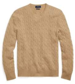 Ralph Lauren Cable-Knit Cashmere Sweater Camel Melange S