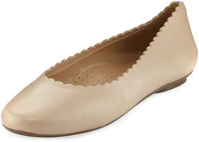 Neiman Marcus Sekia Smooth Scalloped Flat, Ecru