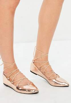Missguided Rose Gold Gillie Pointed Ballerina Shoes