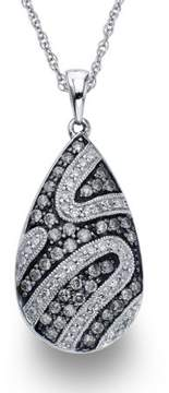 Armani Exchange Jewelry Diamond Pear Necklace in Sterling Silver (0.75 carats, H-I I1 and Grey Diamonds)