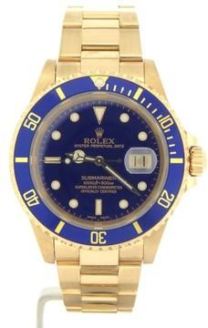 Rolex Submariner 16618 18K Yellow Gold Blue Dial & Bezel Date 40mm Mens Watch