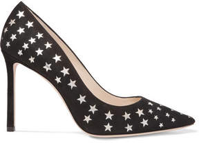 Jimmy Choo Romy 100 Laser-cut Suede And Metallic Leather Pumps - Black
