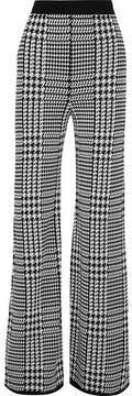 Balmain Houndstooth Stretch-knit Wide-leg Pants - Black