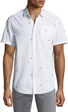 Report Collection Short-Sleeve Pam-Tree & Sunglasses Print Oxford Shirt