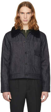 Rag & Bone Indigo Denim Sherpa Bartack Jacket