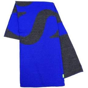 HUGO BOSS Men's Knitties Medium Blue Winter Scarf
