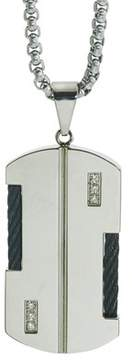 Armani Exchange Jewelry Mens Diamond Cable Dog Tag In Stainless Steel (0.10 Carats).