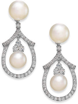Arabella Cultured Freshwater Pearl and Swarovski Zirconia Drop Earrings in Sterling Silver (5 & 6mm)