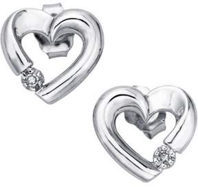 Armani Exchange Jewelry Diamond Accent 10kt White Gold Heart Earrings