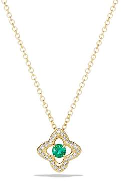 David Yurman Venetian Quatrefoil Necklace with Emerald and Diamonds in 18K Gold