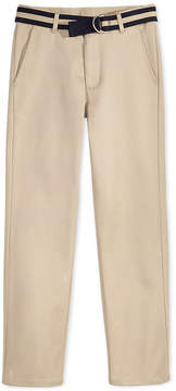 Nautica Flat-Front Belted Twill School Uniform Pants, Big Boys (8-20)