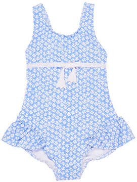 Florence Eiseman Tulip-Print Ruffle One-Piece Swimsuit, Size 6-24 Months