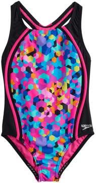 Speedo Girls 7-16 Tie-Dye Colorblock One-Piece Swimsuit