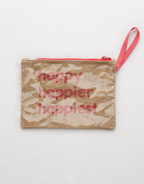 Aerie Burlap Happy Wristlet
