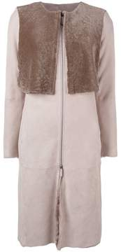 Armani Collezioni collarless zip-up coat