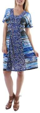 24/7 Comfort Apparel Women's Bubbling Ocean Printed Dress