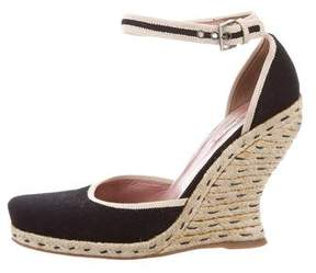 Alaia Canvas Round-Toe Wedges