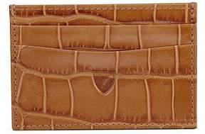 Aspinal of London | Slim Credit Card Case In Deep Shine Vintage Tan Croc Cappuccino Suede | Deep shine vintage tan croc cappuccino suede