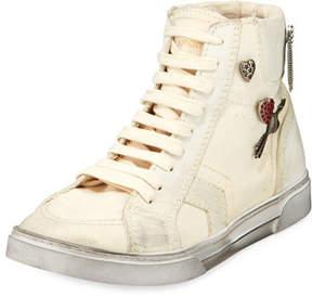 Saint Laurent Antibe Distressed High-Top Sneakers