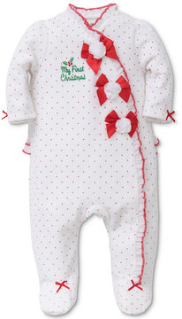 Little Me 1-Pc. Dot-Print Bows Footed Coverall, Baby Girls (0-24 months)
