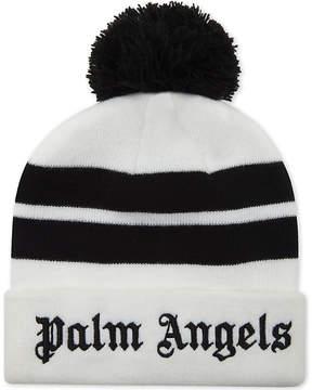 Palm Angels Striped bobble beanie
